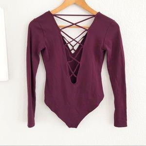 Forever 21 Berry Long Sleeve Criss Cross Bodysuit